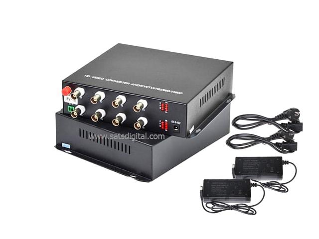 Fiber Optic HD Video Converter 8Ch 4iN1 1080p
