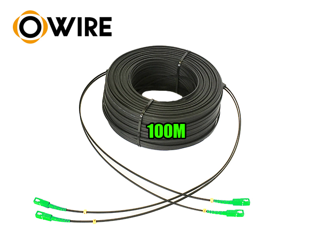 สายไฟเบอร์ออฟติก 2 Core Owire เข้าหัว sc/apc มั้วน 100 เมตร
