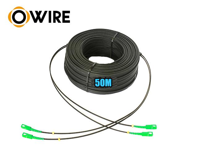 สายไฟเบอร์ออฟติก 2 Core Owire เข้าหัว sc/apc มั้วน 50 เมตร