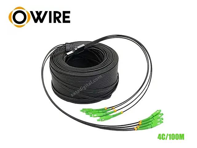 Ftth Drop 4 Core Owire เข้าหัว SC/APC มั้วน 100 เมตร มีสลิง