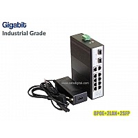 GIGABIT INDUSTRIAL POE SWITCH 8 PORT+2LAN/1000+2SFP UPLINK