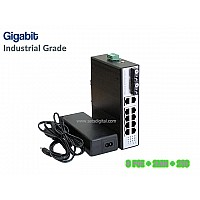 GIGABIT INDUSTRIAL POE SWITCH 8 PORT+2LAN+2SC 1.25G UPLINK