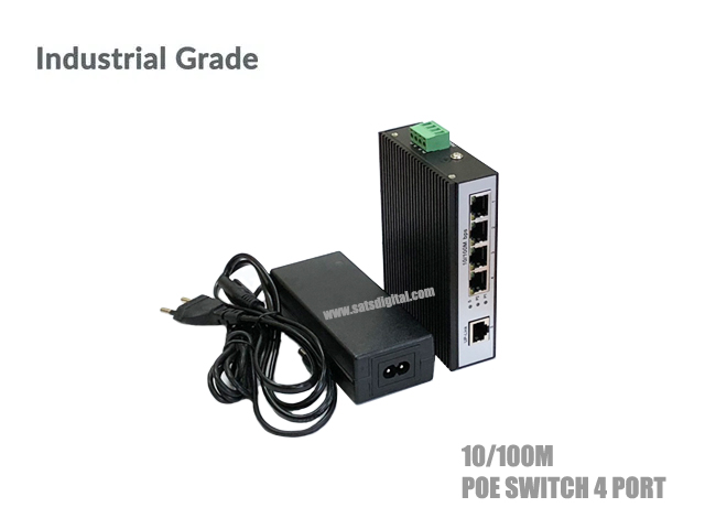 10/100M INDUSTRIAL POE SWITCH 4 PORT+1LAN/100 UPLINK