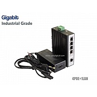 GIGABIT INDUSTRIAL POE SWITCH 4 PORT+1LAN UPLINK