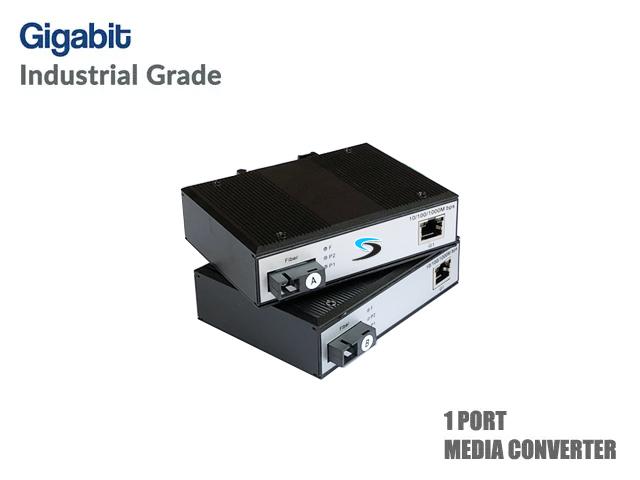 Gigabit Industrial Fiber Media Converter Full Set (WDM)