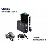 Gigabit Industrial Fiber Media Converter 1X4 Port (WDM)