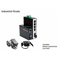 10/100M INDUSTRIAL MEDIA CONVERTER 4 PORT (WDM)