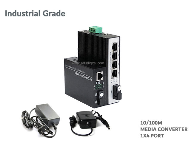 10/100M Industrial Fiber Media Converter 1X4 Port (WDM)