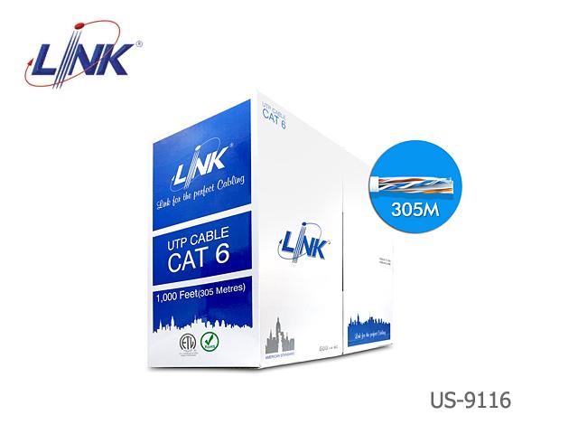 สายแลน CaT6 UTP LINK รุ่น US-9116 / FRPVC / ULTRA 600 MHz (305 เมตร)