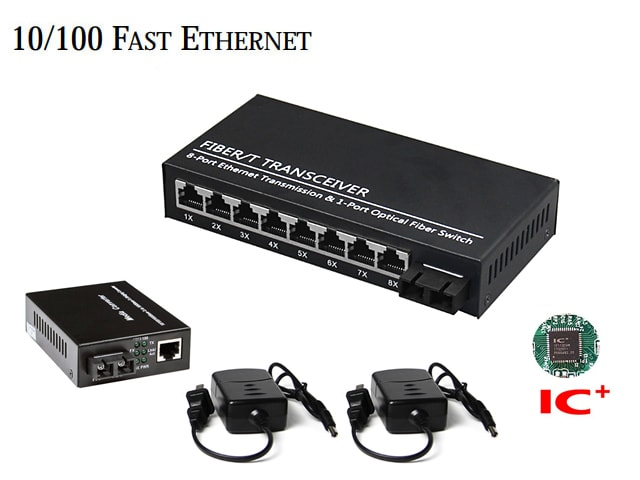 10/100M Fiber Media Converter 1X8 Port (Duplex)