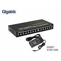 GIGABIT POE SWITCH 12 PORT+2LAN/G UPLINK