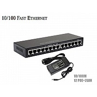 10/100M POE SWITCH 12 PORT+2LAN/100 UPLINK