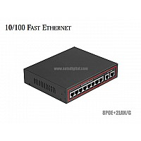 10/100M POE SWITCH 8 PORT+2LAN/G UPLINK