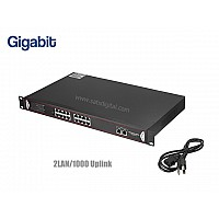 GIGABIT POE SWITCH 16 PORT 19 นิ้ว + 2LAN/1000 UPLINK