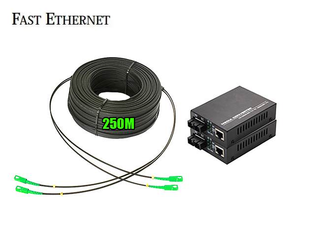 Ftth Drop 2 Core Owire 250 เมตร + Media Duplex 10/100M