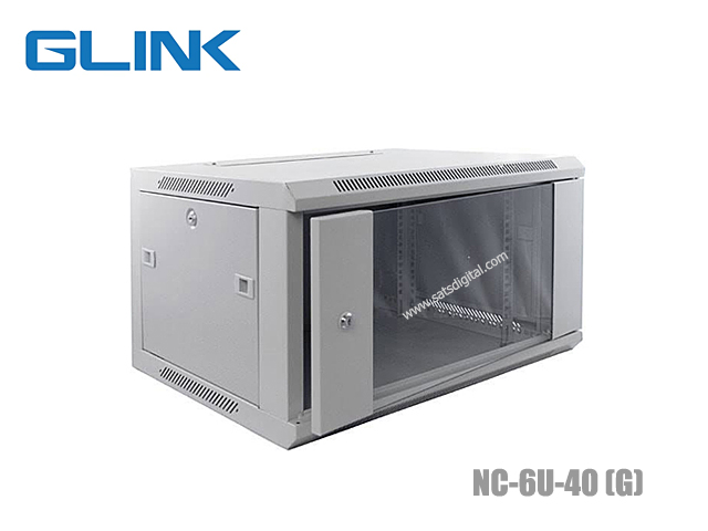ตู้แร็คเก็บอุปกรณ์ 6U GLINK รุ่น NC-6U-40 ลึก 40CM + ชั้นวาง (สีเทาขาว)